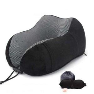 Memory-foam-travel-pillow-for-neck-support-black