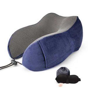 Memory-foam-travel-pillow-for-neck-support-dark-blue