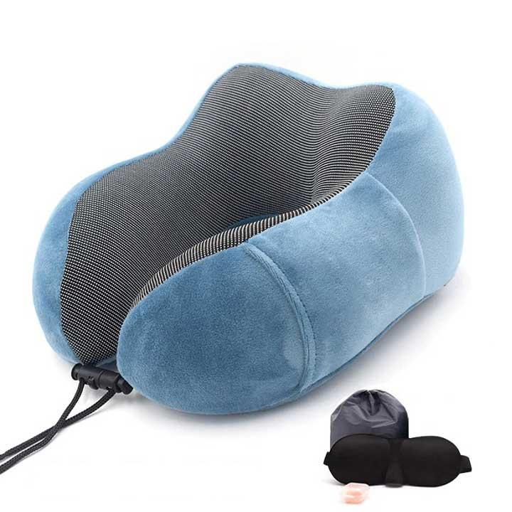 Memory-foam-travel-pillow-for-neck-support-light-blue