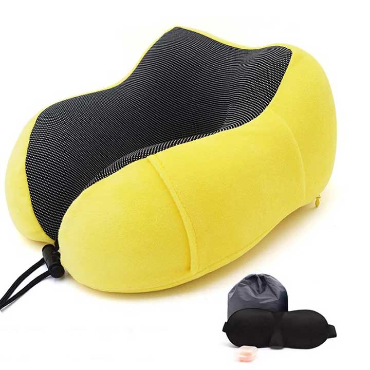 Memory-foam-travel-pillow-for-neck-support-yellow